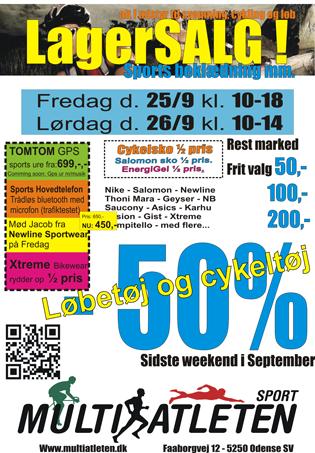 HALV PRIS LAGERSALG hos Multiatleten – Fredag og lørdag d. 25-26. sept.